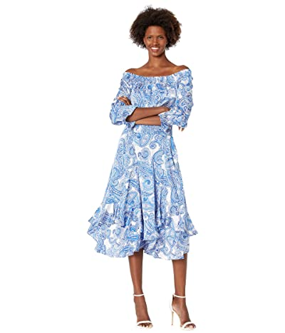 Tahari by ASL Hammered Satin Off-the-Shoulder Paisley Print Dress with Smocked Waist