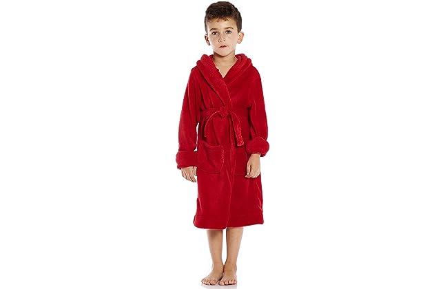 Leveret Kids Robe Boys Girls Solid Hooded Fleece Sleep Robe Bathrobe (2  Toddler-14 Years) Variety of Colors 034fb70cd