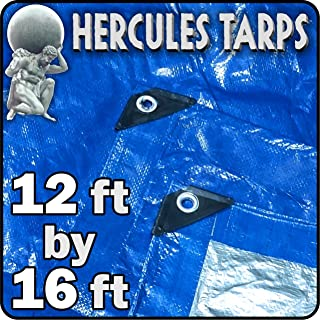EasyGO Tarp2-12x16-1 Hercules Shelter Cover Waterproof Tarpaulin Plastic Tarp Protection Sheet for Contractors, Campers, Painters, Farmers, Boats, Motorcycles, Hay Bales-12'x16', 12x16
