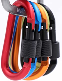 LeBeila Carabiner Clip Aluminum D-Ring Carabiners - 5 Pack Screw Locking Buckle Hook D Shape Spring Snap Keychain Clips, Strong and Light Lock Caribeaners for Outdoor Camping Hiking (Multicolor 1)
