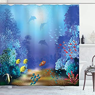Ocean Animal Decor Shower Curtain by Ambesonne, Underwater Coral Reef Polyps Algae Dolphins and Goldfishes Bubbles Deep Print, Fabric Bathroom Decor Set with Hooks, 70 Inches, Blue