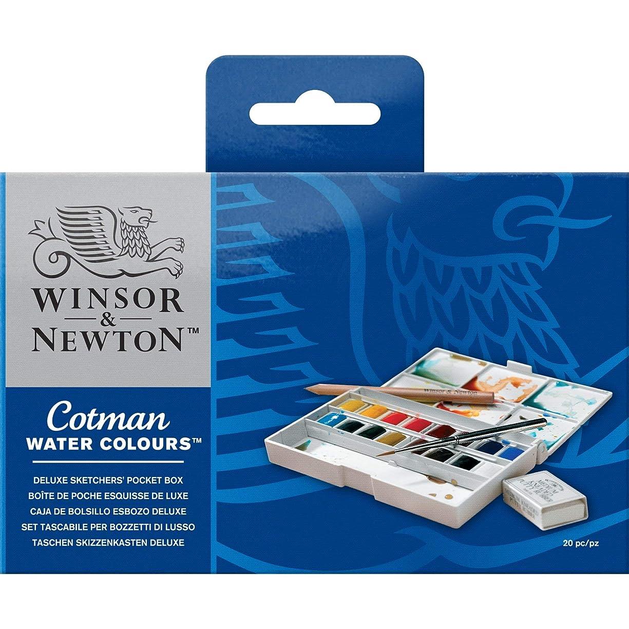 Winsor & Newton Cotman Water Colour Paint Deluxe Sketchers' Pocket Box, Set of 16, Half Pans