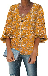 Sidefeel Women Printed V Neck Lantern Sleeve Blouse Button Down Shirt Tops