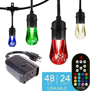 Enbrighten 45067 Color Changing Caf (48ft. 24 LED Bulb) Works with Alexa Outdoor String Lights Kit: Vintage LE, 48 ft, Black w/Wifi Smart Plug
