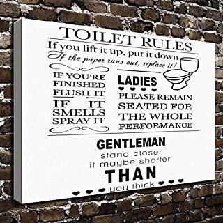 COLORSFORU Toilet Rules wit Custom Canvas Print 20x16 Inch Framed Home Decor Wall Art Painting Canvas Poster Oil