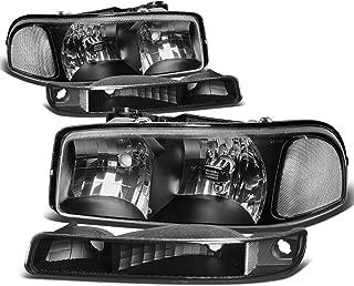 For GMC Sierra/Yukon GMT800 4Pcs Black Housing Clear Corner Headlight+Bumper Light