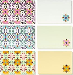 Paquete de 48 tarjetas de felicitación en blanco vintage para todas las ocasiones – Tarjetas de felicitación de colores con diseños florales con sobres incluidos 10 x 15 cm