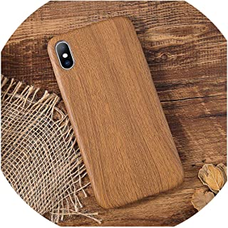 Pu Case Cover for iPhone 7 7Plus 8 Plus Wood Grain Yellow Soft Phone Cases for iPhone Xs Max Xr X Back Cover,Dark Khaki,for iPhone 7 Plus