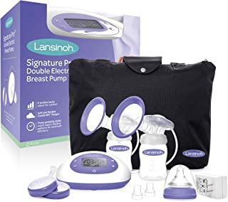 Lansinoh Signature Pro Double Electric Portable Breast Pump with Pumping Essentials and Tote Bag