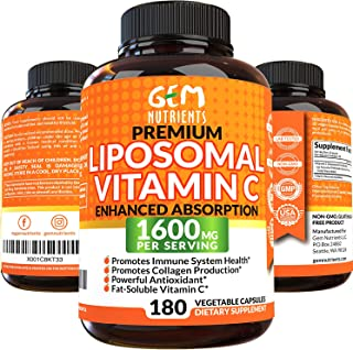 Gem Nutrients Liposomal Vitamin C 1600mg, 180 Capsules - High Absorption, Fat Soluble VIT C, Antioxidant Supplement, Immun...