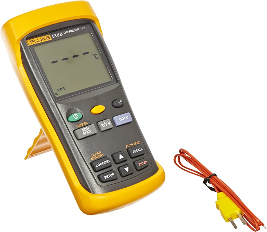 Fluke 53 2 Single Input Digital Thermometer With USB Recording 3 AA Battery 418 To 3212 Degree F Range 60 Hz Noise Rejection
