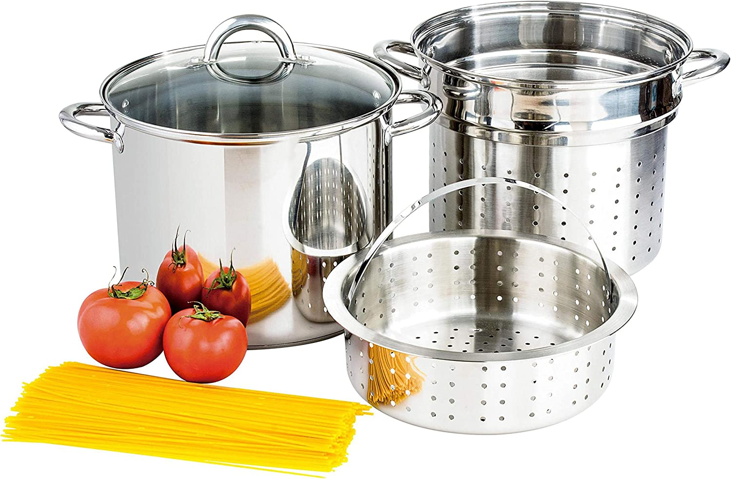 Culinary Edge Stainless Steel 8-Quart Nonstick 4-Piece Multi-Cooker with Steamer and Pasta Pot Cookware Set