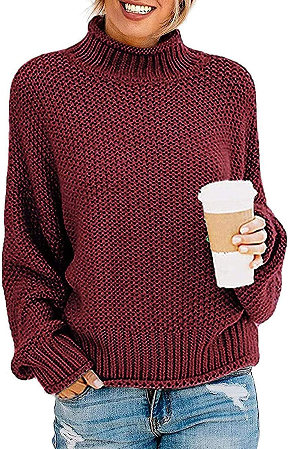 TECREW Womens Chunky excellence Turtleneck Oversize Jacksonville Mall Sweaters Batwing Sleeve