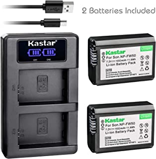 Kastar LCD Dual Charger + 2 Battery for Sony NP-FW50, Alpha a6100I, LCE-6500 a6500, ILCE7 Alpha 7 a7, ILCE-7M2 Alpha 7 II a7II, ILCE-7R Alpha 7R a7R, ILCE-7RM2 Alpha 7R II a7R II, ILCE-7S Alpha 7S a7S