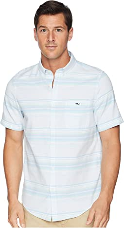 Slim Fit Sand Piper Stripe Short Sleeve Oxford Tucker Shirt