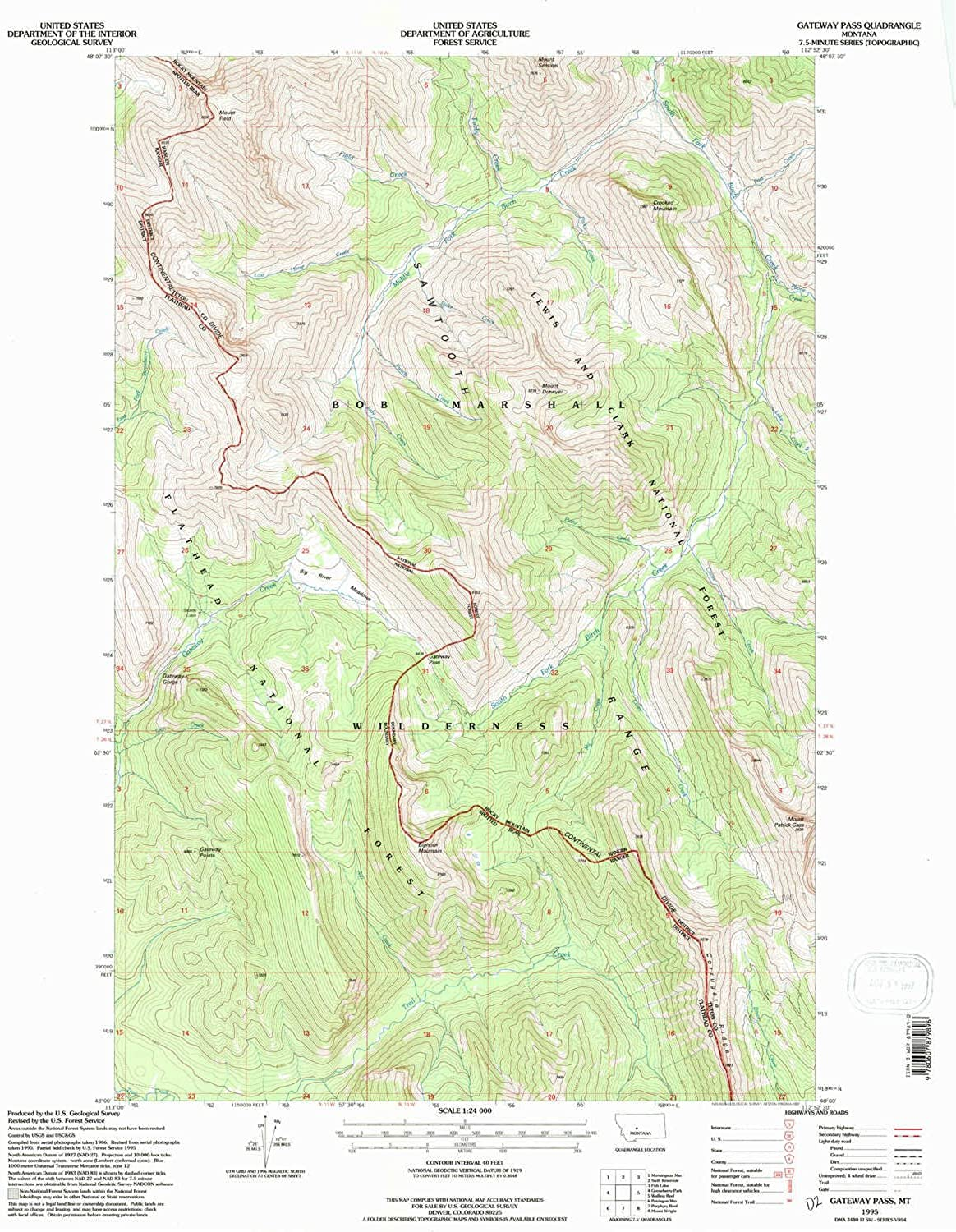Gateway Pass MT topo map, 1 24000 Scale, 7.5 X 7.5 Minute, Historical, 1995, Updated 1997, 27.1 x 22.1 in