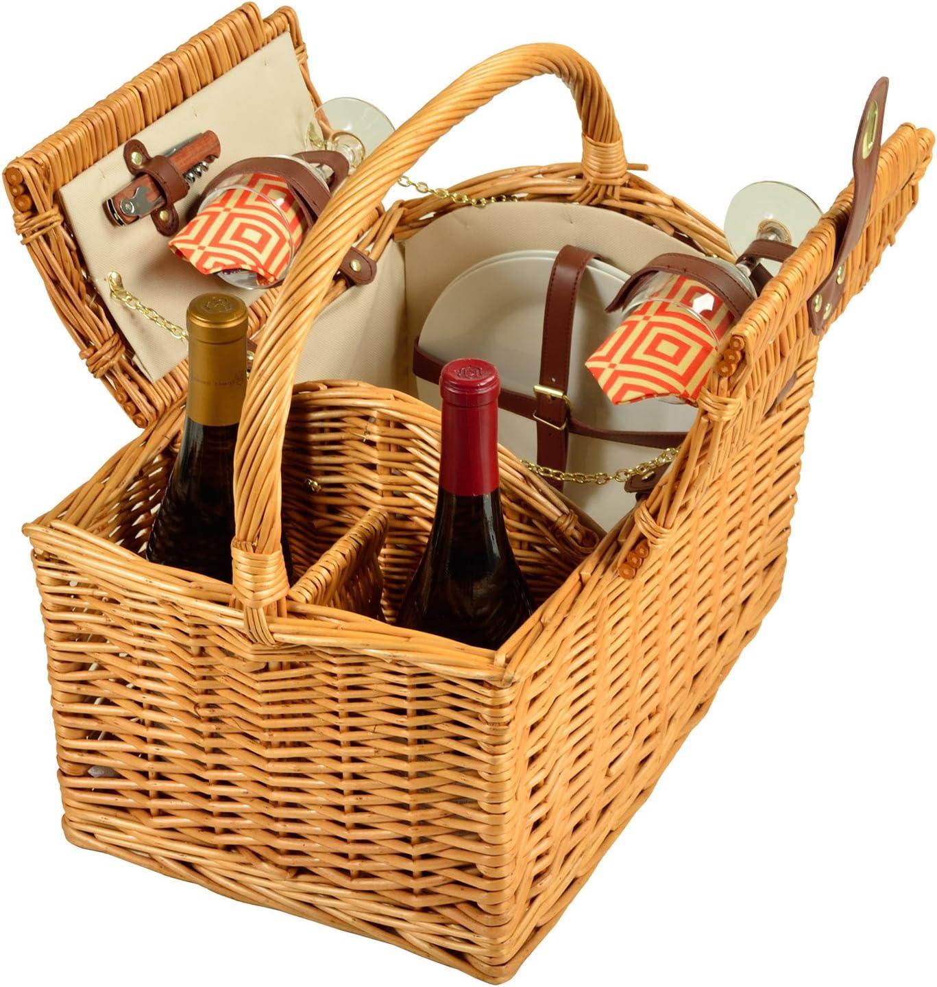 Picnic sale at Ascot Vineyard Willow Diamond Basket Natural Bargain O