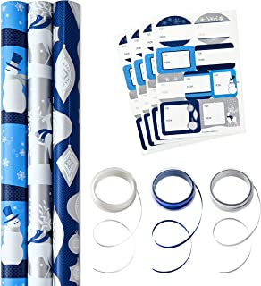 Hallmark 5JXW1742 Reversible Tri-Pack Gift Wrap, Blue Icons, 3 Pack w/Accessories