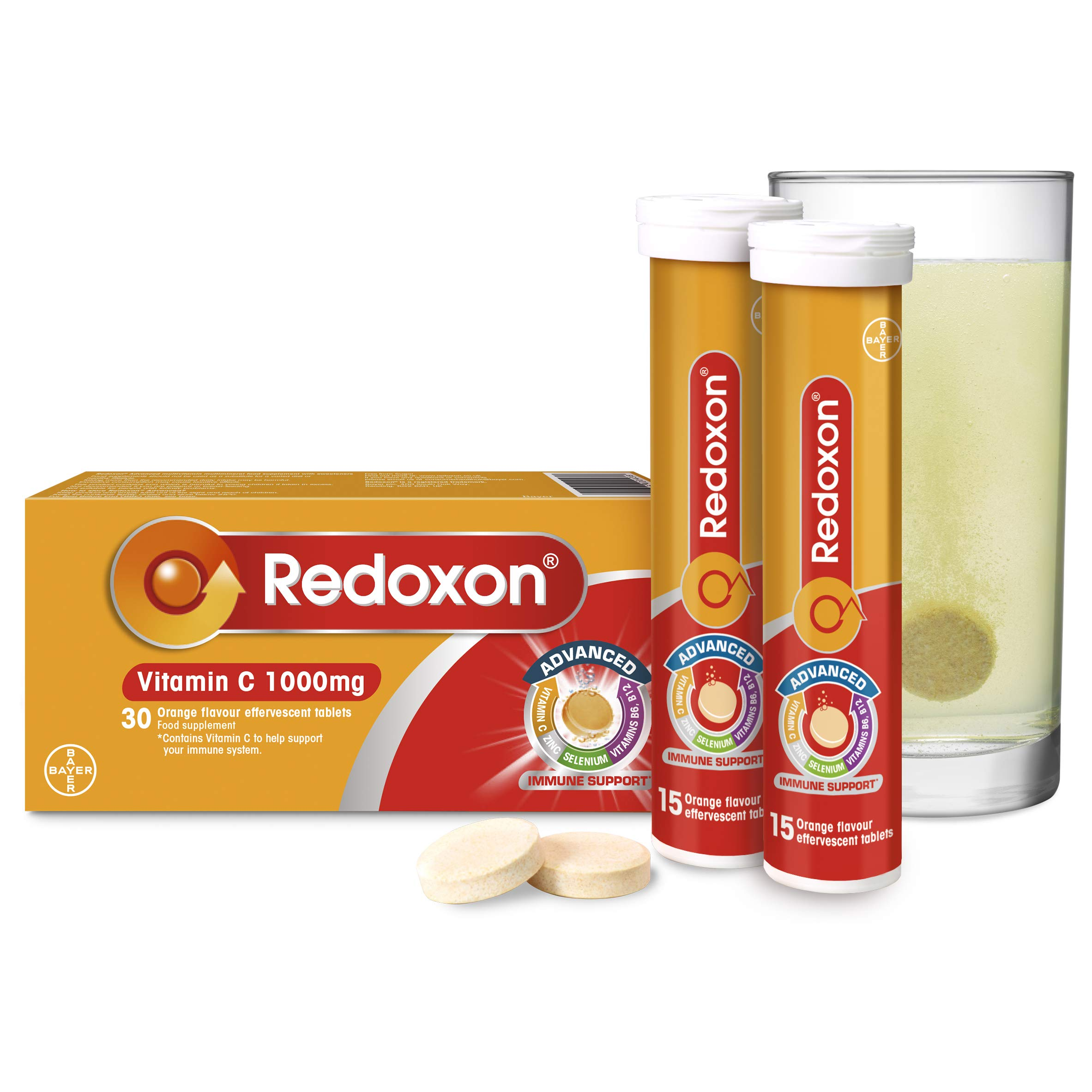Redoxon Advanced Vitamin C 1000mg Tablets, Multivitamin Immune Booster, Orange Flavour, 1 Pack of 30 Tablets - 1 Months Supply