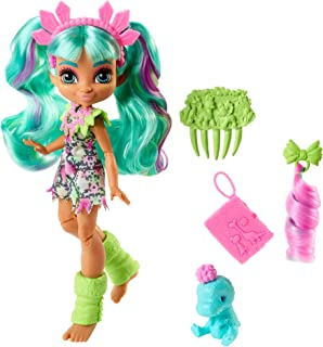 Mattel Cave Club Rockelle Doll 10-inch, Teal Hair Poseable Prehistoric Fashion Doll with Dinosaur Pet and Accessories, Gift for 4 Year Olds and Up [Amazon Exclusive]