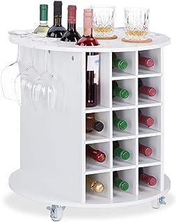 Relaxdays 10025020 Etagère vin, design, à roulettes, 17, Porte-bouteilles, rond, HxD : 56 x 54cm, blanc, MDF, plastique, 1...
