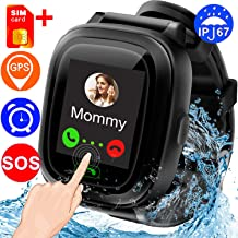 ZOFUNNY【Special SIM Card Smartwatch for Kids GPS Tracking Device, Water Resistant Black Smart Watch Phone/SOS/Colorful Touch Screen/Remote APP Wristwatch for Boys Girls Birthday Interactive Gifts