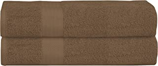 GLAMBURG Premium Cotton Oversized 2 Pack Bath Sheet 35x70-100% Pure Cotton - Ideal for Everyday use - Ultra Soft & Highly Absorbent - Machine Washable - Mocha