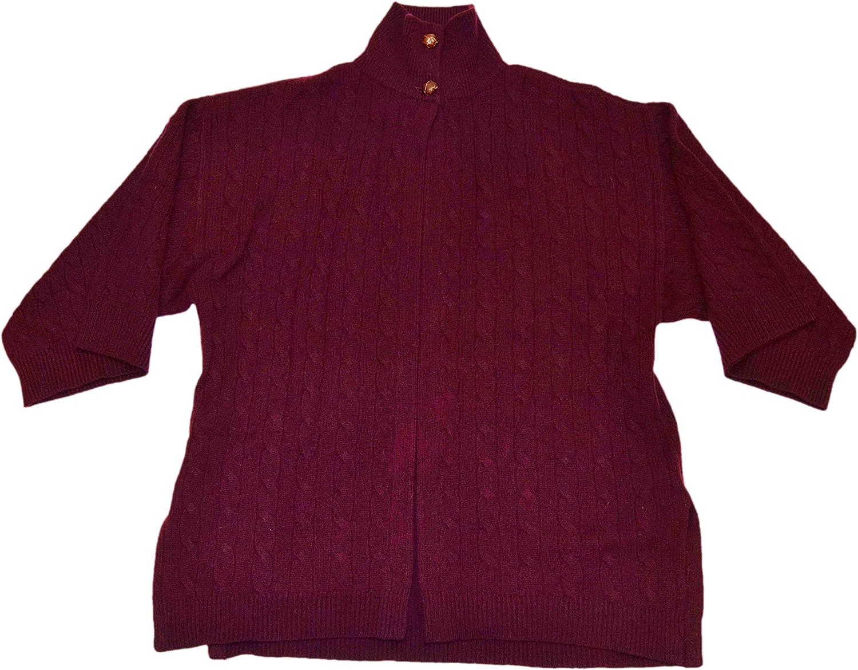 Ralph Lauren Polo Womens Cashmere Cardigan Cape Shawl Sweater Burgundy Red Medium