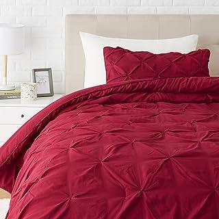 Amazon Basics Pinch Pleat Down-Alternative Comforter Bedding Set - Twin / TwinXL, Burgundy