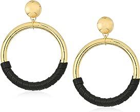 Steve Madden Womens Hoop Stud Leather Post Earrings