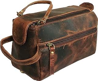 Genuine Buffalo Leather Unisex Toiletry Bag Travel Dopp Kit