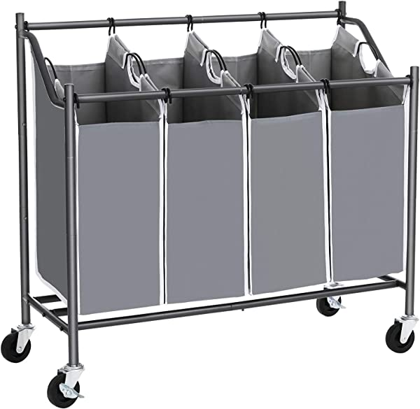 SONGMICS 4 Bag Laundry Cart Sorter Rolling Laundry Basket Hamper With 4 Removable Bags Casters And Brakes Gray URLS90GS