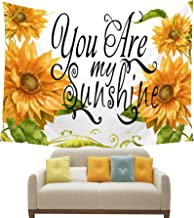 NIDITW Summer Holiday Decor Sunshine Yellow Sunflower You are My Sunshine White Tapestry Backdrop Wall Hanging Blanket for Bedroom Living Room Dorm 60x40 inches