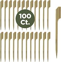 Prexware 3.5 Inch Bamboo Picks Paddle Skewers BBQ Picks 100 Pack