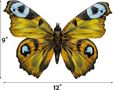 Juegoal 4 Pack Metal Butterfly Wall Art Inspirational Wall Decor Sculpture Hanging for Indoor Outdoor Home Bedroom Living Room Office Garden, Blue, Yellow, Green and Red Butterflies with 12 Inch Each