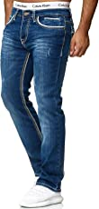 OneRedox Herren Jeans Denim Regular Fit Used Design Modell 5166