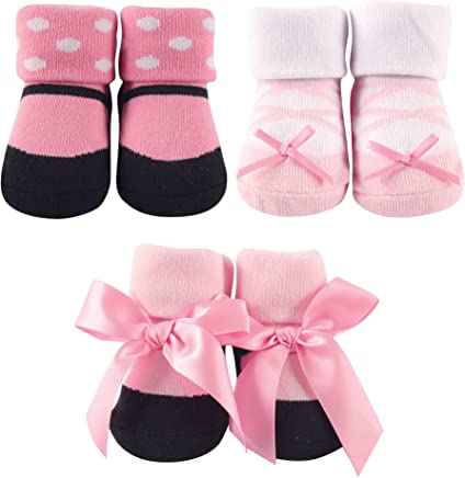 761ed4f7582 Luvable Friends Baby Girls  3 Pack Little Shoe Socks Gift Set
