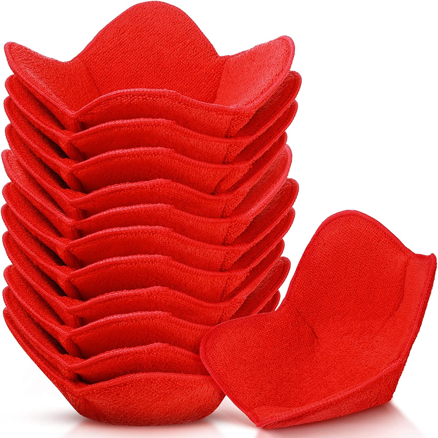 12 Pieces Microwave Safe Bowl Huggers Heat Resistant Bowl Holder Polyester Hot Bowl Holder Plate Huggers Protect Your Hands from Hot Dishes for Heating Soup, Leftover Food, Meals (Red)