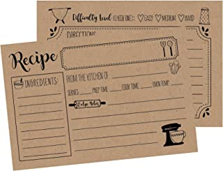 50 Kraft Double Sided Recipe Cards 4x6, Wedding Bridal Shower Card, Blank Plain Printable Recipe Card for Binder, Cute Rustic Vintage Retro Gift in a Mason Jar Recipe Cards 4 x 6 Personalized