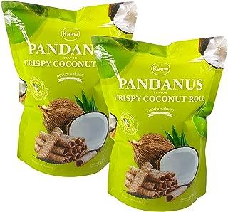 Kaew Thai Pandanus Crispy Coconut Roll Pandan Flavor 100 g. (Pack of 2)