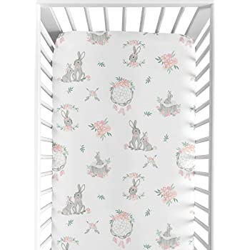 Sweet Jojo Designs Blush Pink and Grey Woodland Boho Dream Catcher Arrow Girl Baby or Toddler Nursery Fitted Crib Sheet for Gray Bunny Floral Collection - Watercolor Rose Flower