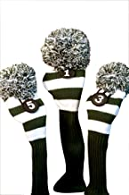 Majek Golf Club Head Covers: Green & White Limited Edition Long neck Knit Retro Pom Pom Traditional Classic Vintage Old School Ultimate Driver Fairway Wood Golf Head Cover Set michigan state Colors