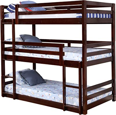 Benjara 3 Tier Design Wooden Twin Size Bunk Bed with Attached Guardrails, Brown
