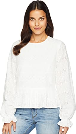 Eyelet Lace Long Sleeve Blouse