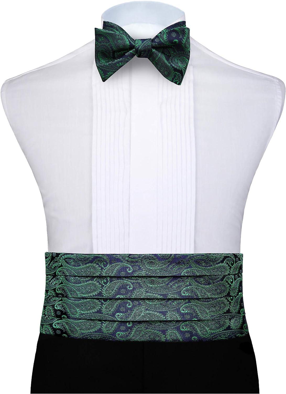Enlision Kummerbund und Fliege und Einstecktuch Check Polka Dot Streifen Paisley formale Muster fur Manner Satin Tuxedo Set