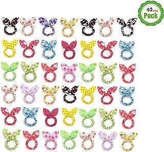 Tsful 40 PCS Cute Girls Rabbit Ear Hair Tie Bands Ropes Ponytail Holder