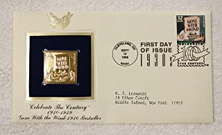 Gone with the Wind - 1936 Bestselling Book - Celebrate the Century (The 1930s) - FDC & 22kt Gold Replica Stamp plus Info Card - Postal Commemorative Society, 1998 - American Literature, Margaret Mitchell, Civil War