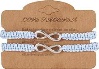 2Pcs 8 Infinity Couple Braided Leather Luck Bracelet Handcrafted Stainless Steel Infinity Friendship Rope Bracelet Set Adjustable for Women Girl