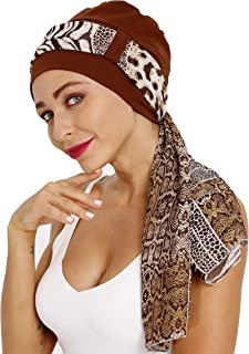 Cancer Headwear for Women with Scarfs Breathable Bamboo Cotton Lined Chemo Turban Hat Cap of DORALLURE