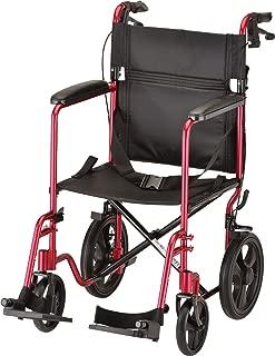 "NOVA Lightweight Transport Chair with Locking Hand Brakes, 12"" Rear Wheels, Full Length Padded Armrests, Red"